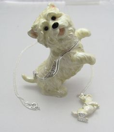 New Trinket Box Gift Swarovski Crystals White Peppy Westie Dog Animal Necklace, This reminds me of a more expensive version I saw of this jeweled box years ago that was $195.00 in 2007. It was a Jay Strongwater from Neiman Marcus. This mold looks more like the ideal Westie body than the two molds that are alike. It has a higher pricetag too @ 10-20 more than the other Swarovski crystal enamel trinket boxes with the mini necklaces.