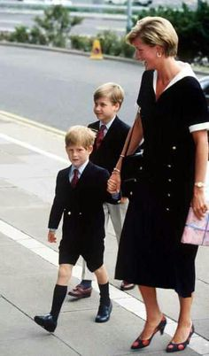 Diana, Princess of Wales with her sons, Princes William and Harry.