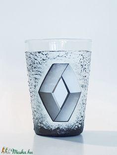 Renault vizes pohár, üdiítős pohár autórajongói ajándék névnapra, szülinapra, mikulásra, karácsonyra.  (Biborvarazs) - Meska.hu Subaru, Mazda, Toyota, Decoupage, Candle Holders, Candles, Fan, Porta Velas, Candy