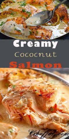 Coconut Salmon Recipe, Coconut Sauce, Coconut Recipes, Veggie Recipes, Fish Recipes, Seafood Recipes, Recipes With Coconut Cream, Coconut Fish, Dinner Recipes