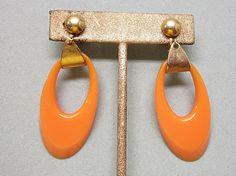 Big Dangling Bakelite Earrings Peach Butterscotch by COBAYLEY, $35.00