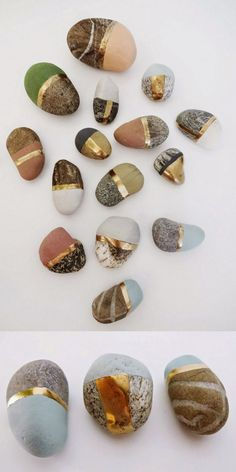 DIY Painted StonesPaint special found stones with chalk and metallic paint. Give these small painted stones away, make a treasure stone display, or group them in a shadowbox.Find a homemade recipe for chalk paint and more photos of these DIY Painted Stones at Tinker Paint Bake Cakes here.  pinterest | @ninabubblygum ☁