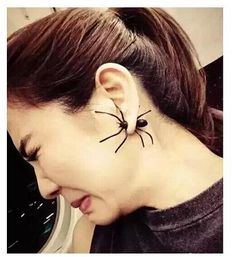 Fashion jewelry wholesale New hot seller Korean Trendy Punk matte black spider stud earrings B304 Valentine's Day Gift cheap Free Shipping