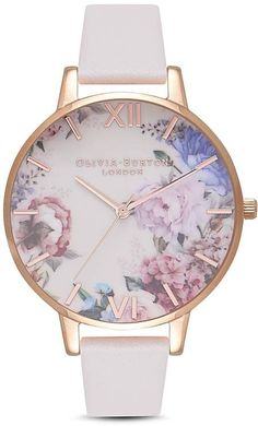 A stunning floral dial combined with nude hues for a truly unique design from Olivia Burton. This Enchanted Garden watch in Nude & Rose Gold featu. Cute Jewelry, Jewelry Accessories, Stylish Watches, Fancy Watches, Unique Watches, Elegant Watches, Vintage Watches, Luxury Watches, Leather
