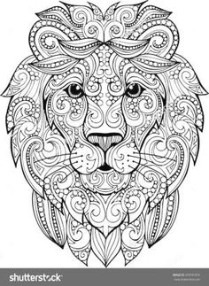Hand Drawn Doodle Zentangle Lion Illustration Decorative Ornate Vector Head Drawing For Coloring Book By Helga