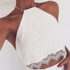 ♡Pinterest♡ → @JuliaArnhem Lace Halter Top, Lace Crop Tops, White Lace Crop Top, Camisole Top, Moda Fashion, Style Fashion, 90s Fashion, Fashion Beauty, Fashion Outfits