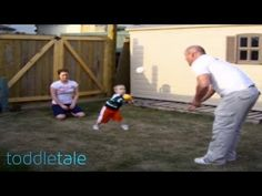 Toddler hits a baseball directly into his dad's face #video #humor #funny #dad #kid #toddler