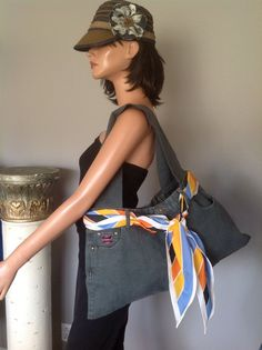 Denim & Company  Jeans Denim Bag Purse Designer Fashion Diva Fabulous Shawl Tie  #DenimCompany #Hobo