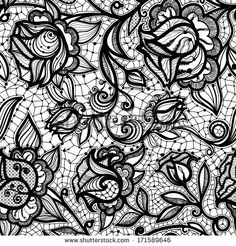 Abstract seamless lace pattern with flowers and leaves. Infinitely wallpaper, decoration for your design, lingerie and jewelry. Your invitation cards, wallpaper, and more. Lace Background, Creative Background, Background Patterns, Lace Drawing, Pattern Drawing, Lace Ribbon, Lace Fabric, Lace Patterns, Flower Patterns