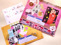 Envelope Art to try: random scraps of paper in the form of a bright and fun collage. via sarah-wynne