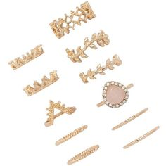 Forever 21 Geo-Cutout Midi Ring Set ($6.90) ❤ liked on Polyvore featuring jewelry, rings, gold, yellow gold rings, midi rings, forever 21 rings, cut out ring and midi rings jewelry