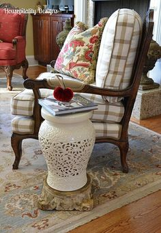 French country chair and garden stool