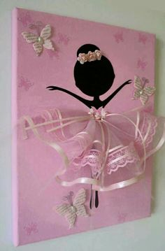 Dancing Ballerina with Butterflies handmade canvas. This wall art canvas is 9 X The background, butterflies and ballerina is hand painted with acrylic paint. Dancer is decorated with tulle dress, lace, silk ribbons, crafted butterflies and rozes. Diy And Crafts, Crafts For Kids, Arts And Crafts, Paper Crafts, Ballerina Silhouette, Diy Art, Canvas Wall Art, Diy Canvas, Craft Projects