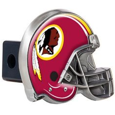"The Washington Redskins Helmet Hitch Cover fits standard truck 2"" trailer hitch receivers."