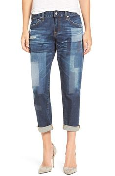 AG 'The Ex-Boyfriend' Distressed Patchwork Slim Jeans (10 Years Dimension)