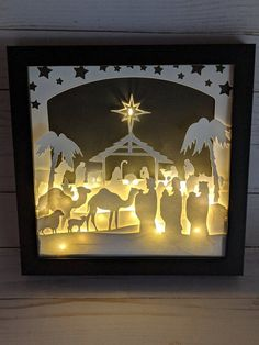 Christmas Paper, Christmas Projects, Outdoor Nativity Scene, Paper Art, Paper Crafts, Papier Diy, Shadow Box Art, Christian Decor, Christmas Decorations