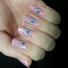 Angel's Nails ~ light pink with aqua nail stamp