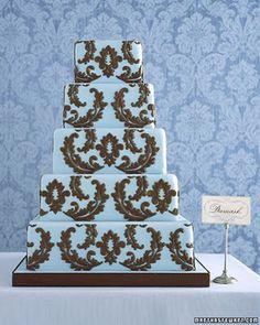 blue & brown damask cake, Martha Stewart Weddings...can we say yes please?