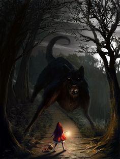 Big Bad Wolf by Edli on DeviantArt.  (red riding hood cap, fairy tale, fantasy)