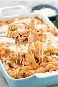 Easy Baked Penne - this easy pasta casserole is FULL of cheese! It's accidentally vegetarian and no one will know it's semi-homemade!