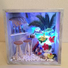 南国テイスト漂うハワイアンなミニチュアハウス(ドールハウス)です。南国リゾート風・ハワイアンなお部屋のインテリアに!!海とヤシの木の画像をバックにサーフボード...|ハンドメイド、手作り、手仕事品の通販・販売・購入ならCreema。 Interior, Crafts, Creema, Painting, Garden, Handmade, Manualidades, Garten, Indoor