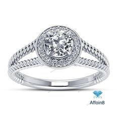 1.27 CT Round D/VVS1 Diamond 925 Silver Halo & Bezel Style Women Engagement…