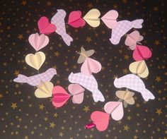 3D Paper Garland  Baby Dream Pink Hearts & Birds by lulupica, $9.95
