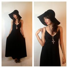 Do with blue maxi, black wide-brimmed fedora