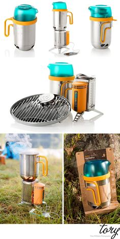 Biolite stove, grill and kettle pot.