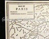 1940s Paris - Vintage Maps - Paris Underground in Black and White