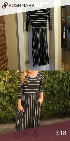 Black Stripe Midi Dress- New Never worn. Soft jersey knit midi dress.  Original link: https://www.hazelandolive.com/products/black-stripe-midi-dress Dresses Midi