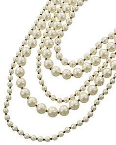 Gold Tone / Cream Synthetic Pearl & Black Seed Beads / Lead&nickel Compliant / Fish Hook (earrings) / Multi Row / Long Neck & Earring Set