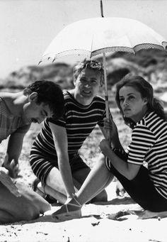 "Jeanne Moreau, Henri Serre, Oskar Werner in ""Jules et Jim"" (1961). Director: François Truffaut."