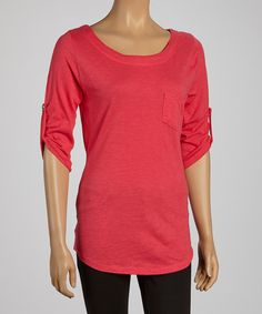 Take+a+look+at+the+Dark+Coral+Ballet+Neck+Top+on+#zulily+today!
