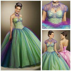 Ruffle Sexy Sweetheart Beaded Strapless Sleeveless Cheap Colorful Rainbow Quinceanera Dress(China (Mainland))