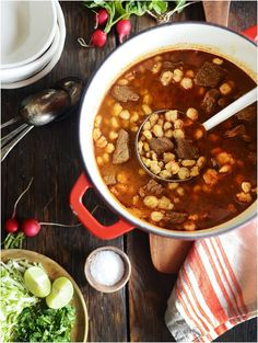 Make this delicious Red Beef Pozole at home! by Muy Delish
