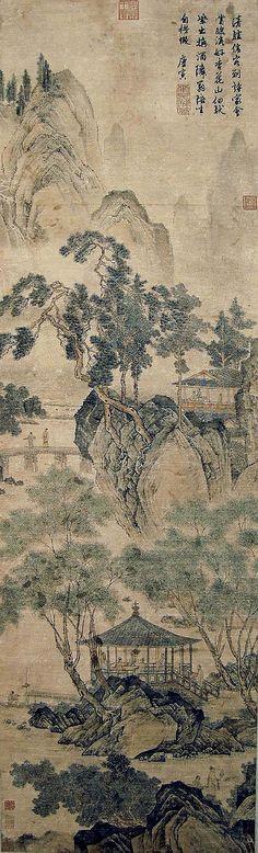 明 唐寅 (1470 - 1523) 遊春圖 Tang Yin  Ming Dynasty  Spring Outing;