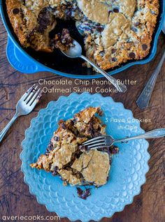 wow Chocolate Chip Oatmeal Peanut Butter Skillet Cookie