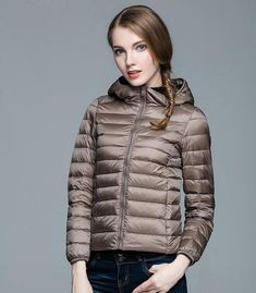 2b106232e2eb Winter Fall Women Designer White Duck Down Jacket Woman Hooded Ultra