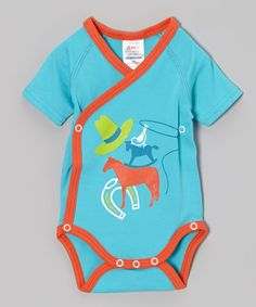 Take a look at this Poolside Blue Round 'Em Up Wrap Bodysuit by Zutano on #zulily today!