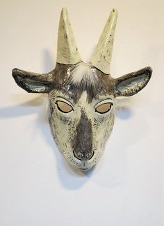 Paper mache goat mask by Jevgenia. She is an elderly lady in Latvia who makes these masks.