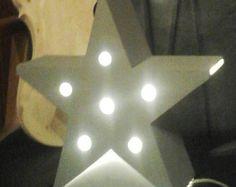 Lampe d'ambiance, étoile en bois, tres lumineuse, création unique, lampe artisanale, couleur gris contemporain,lampe de chevet, lampe etoile