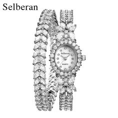 US $59.98 - 2016 50M Waterproof Selberan Gold/Silver Natural Zircon Wrist Watch for Women Luxury Ladies Bracelet Watch Montre Femme Strass