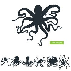 Silhouette octopus vector by silhouettes-clipart