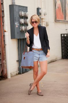 How to make cutoffs more grown up:  add a silk t-shirt, an easy blazer and loafers.