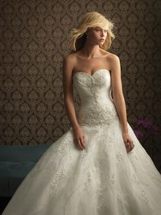Allure Bridals 8769 Beaded Drop Waist Ball Gown Wedding Dress