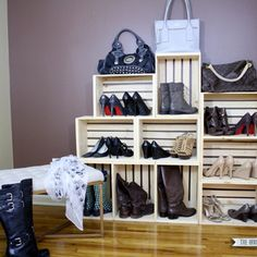Check out this project on RYOBI Nation - The new year is the perfect time to purge and reorganize! Our house doesn't have much closet space and the little space we have was being overtaken by my massive shoe collection. After donating and discarding the shoes that haven't been worn in the past year, I constructed this shoe storage display using the large Crates and Pallet wooden crates. I even used the smaller crates to organize and display my son's growing shoe collection.