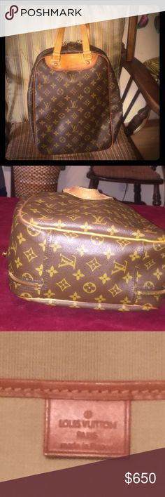 """Authentic Louis Vuitton Excursion Authentic LV TRAVEL BAG is crafted of monogram coated canvas with contrasting leather top handles and trims.  It has gold tone hardware that and a 3/4 brass wrap around double zipper that includes keys.  It opens into a sturdy canvas lined interior to secure your shoes or other items while you travelling.  It also includes a long pocket on the inside.  The measurements are 10""""L x 5.5"""" W x 13.5""""H.  This Travel piece is in excellent condition with no scratches…"""
