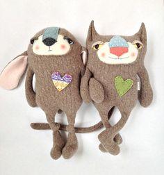 Cashmere Lamb Stuffed Animal Sweater Felted by sweetpoppycat