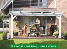 Terrassenüberdachung: Schaffen Sie sich mit der Terrassenüberdachung Ancona ein gemütliches Fleckchen Erde in Ihrem Garten. Auch bei schlechtem Wetter können Sie nach einem anstrengenden Tag dort zur Ruhe kommen und die frische Luft genießen. Kaufen Sie sich jetzt Ihre neue Terrassenüberdachung! #Terrasse #Terrassengestaltung #Überdachung Pergola En Kit, Pergola Alu, Alicante, Getaway Cabins, Roof Structure, Planter Boxes, Backyard, Outdoor Decor, Modern
